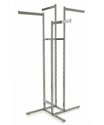 4 Way Clothing Garment Display Rack With 4 Straight Blade Arms Chrome