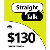 STRAIGHT TALK $130 REFILL CARD  UNLIMITED TEXT,DATA ,RELOADED DIRECT TO PHONE