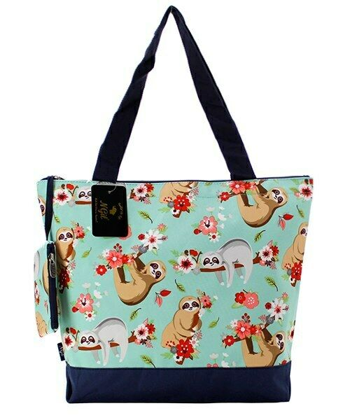 Sloth Summer Canvas Purse Totebag w/attached coin bag NGIL N