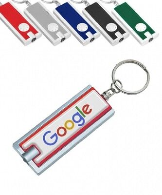 50 Personalized Light-up Key Chains with Your FULL COLOR Logo or Message - Personalized Keychains Bulk