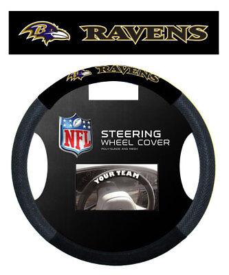 BALTIMORE RAVENS MESH SUEDE CAR STEERING WHEEL COVER (Ravens Steering Wheel Cover)