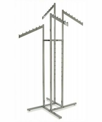 4 Way Clothing Display Rack W4 Waterfall Slanted Blade Arms Chrome