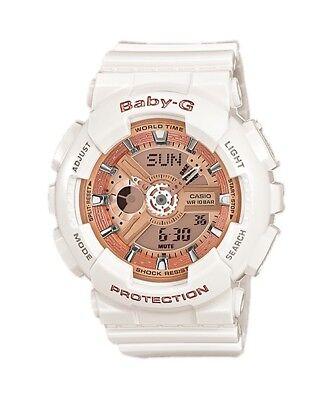 BRAND NEW CASIO BABY-G BA110-7A1 WHITE/GOLD ANA-DIGI WOMEN'S WATCH NWT!!!