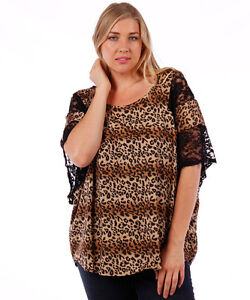 Plus Size Animal Print Top with Lace Sleeve