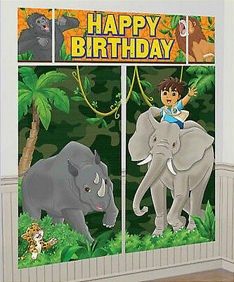 GO DIEGO GO Scene Setter HAPPY BIRTHDAY party wall decoration kit over 6' jungle (Jungle Scene Setter)