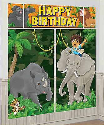 GO DIEGO GO Scene Setter HAPPY BIRTHDAY party wall decoration kit over 6' - Diego Birthday Party