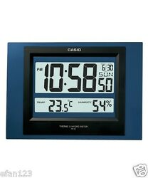 ID-16S-2D Blue Casio Digital Auto Calendar Thermo Hygrometer Wall Desk Clock 16S