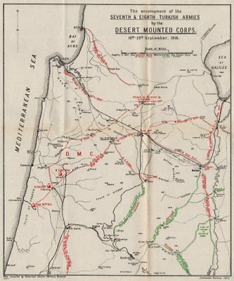1920s Antique WWI Military Operations Map of the Envelopment of the Seventh and Eighth Turkish Armies by the Desert Mounted Corps