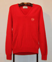 """PRINGLE SPORTS 100% WOOL 1987 US OPEN RED V NECK SWEATER 42"""" 107"""