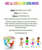 GBC Inc. Childcare Programs Open House - Come check us out!