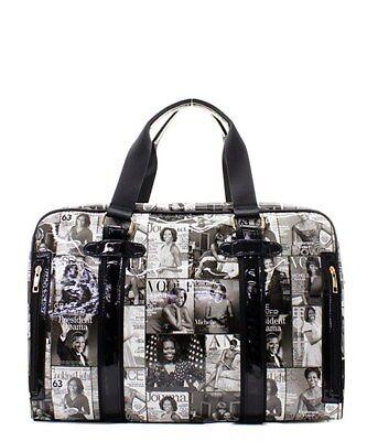 Michelle Obama Black/White Magazine Collage Purse & Fashion/Wallet Set Tote Bag