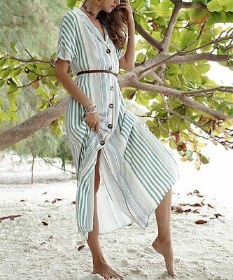 Women Green Stripe Big-Button Maxi Shirt Dress Size -