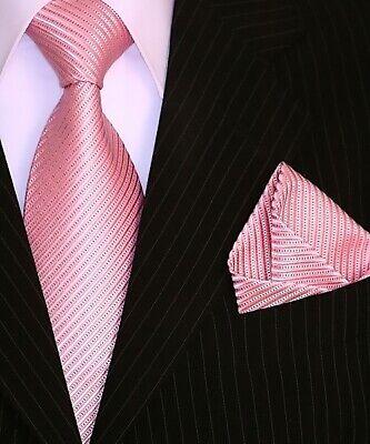 Binder de Luxe Designer Krawatte Einstecktuch Krawatten Set Tie 141 Rosa 2 Tlg. Tie Krawatte Krawatten
