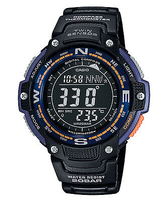Casio Twin Sensor Watch, Compass, Thermometer, 200 Meter WR, 5 Alarms, SGW100-2B