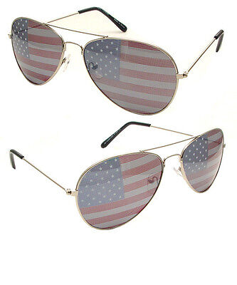 Patriotic Aviator USA American flag Star Strip Sunglasses Vintage 80's (American Flag Aviators)