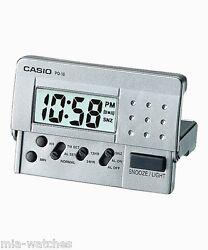 Casio PQ10D-8R Silver Traveler's Alarm Clock w/ LED Light Beeper Sound SNOOZE