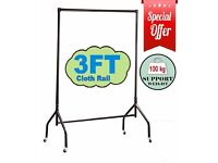 HEAVY DUTY WIDE CLOTHES RAILS GARMENT FOR HOME SHOP STORAGE DISPLAY 3FT , 4FT & 5FT IN BLACK