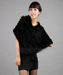 Style Warm Real Farms Rabbit Fur Knitted Wrap Shawls Cape Poncho Scarf Black