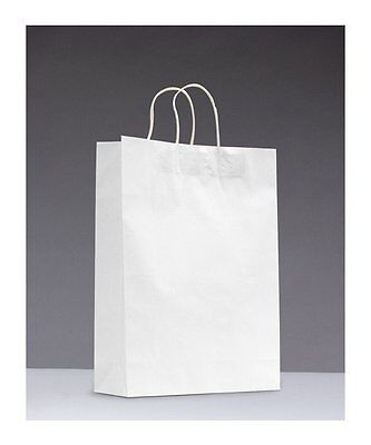 50x White Paper Party Bags with TWISTED Handles - 18cm x 25cm x 8cm