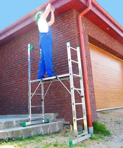 Leiter Gerüst 2x7 Plattform Alu Podest Bühne Treppenfunktion+GRATIS Werkzeugwand