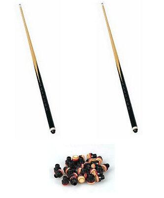 2 Billardqueues,1-teilig, 120 - 140cm + 10 Schraubleder