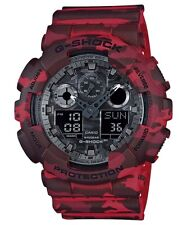 Casio G-Shock Analogue/Digital Mens Red Camouflage Series Watch GA-100CM-4ADR