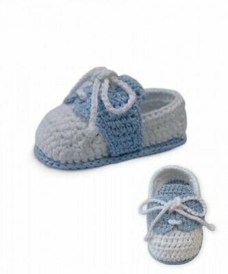 NWT Jefferies White Blue Crocheted Oxford Baby Booties Boys Shoes Size 0 Newborn Crocheted Baby Shoes