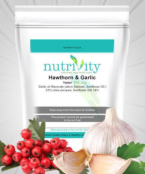 Hawthorn & Garlic 100mg Tablets Nutrivity UK Super Formula High Blood  Pressure | eBay