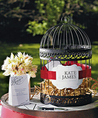 Classic Round PERSONALIZED Birdcage Wishing Well Wedding Card Holder - Birdcage Card Holder