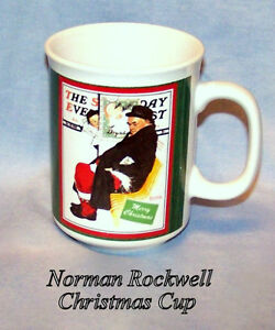 Vintage Cup, 10 oz, Norman Rockwell, Christmas Cup, never used