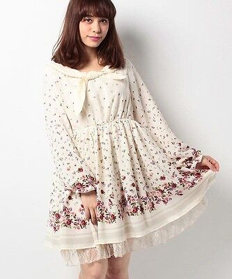 1341.BNWT!axesfemme cream-color floral pattern fairytail dress with elegant lace