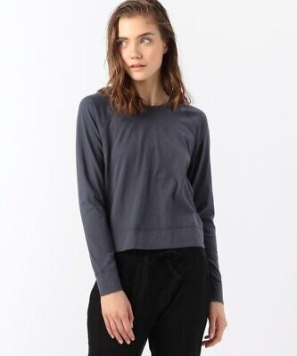 JAMES PERSE Brushed Cotton Jersey Raglan Top In Grey Size 1 Small WBCJ3297