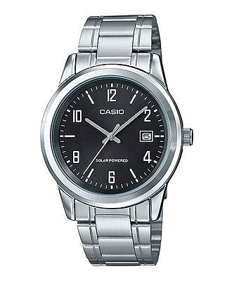Casio Men's Standard Solar Powered Stainless Steel Black Dial Watch MTP-VS01D-1B