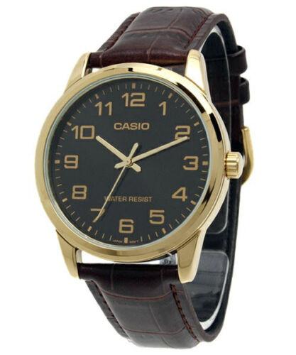 Casio Men's Quartz Gold Tone Stainless Steel Brown Leather