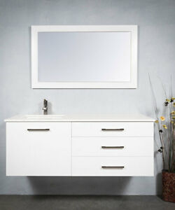 Bathroom Vanity Wall Hung, 54 Inch Single Sink with Everything