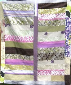 HOMEMADE PATCHWORK THROW - PURPLE FOREST £25 - Ideal for a Sofa, Bed or Picnic Rug