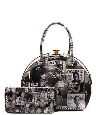 Michelle Obama Black/White Magazine Collage Fashion Handbag/Wallet Set Tote Bag