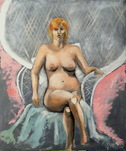 Nude in Chair, Oil on stretched canvas 24x20