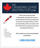 Commercial Lease Abstraction - Peterborough - 1-888-226-2568