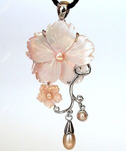 Rare New Zealand Natural Carved Abalone Shell Flower Pearl  Pendant/Necklace
