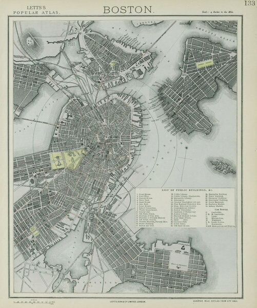BOSTON antique town city map plan. Charlestown. LETTS 1884 old