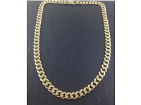 9ct heavy gold curb chain 129g 26inches