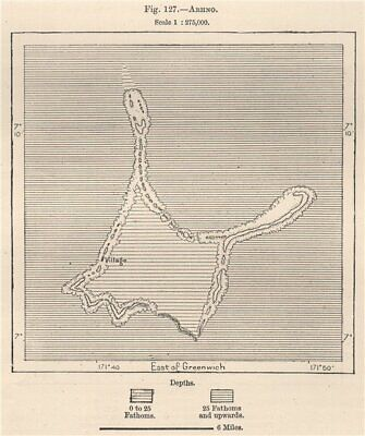 Arno Atoll, Marshall Islands. Micronesia 1885 old antique map plan chart