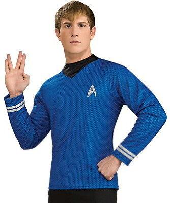 New Star Trek Movie Mr. Spock Science Blue Adult Deluxe Uniform Shirt NEW - Mr Spock Uniform