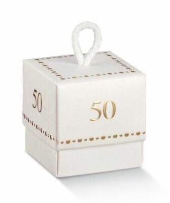 Caja Bolsas para Peladillas Fluer 50 Años Matrimonio 5x5x5 CM Bodas de...