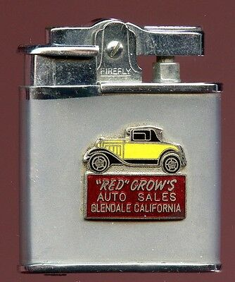 "Mid-1950s ""Red"" Crow's Auto Sales Advertising Lighter Ronson Copy by Firefly"