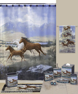 Western-Wild-Horses-Running-Free-Bath-Accessories-Bathroom-Collection-Choice