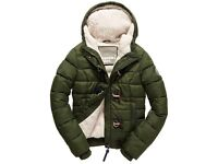 Superdry sport army green toggle puffer jacket size L