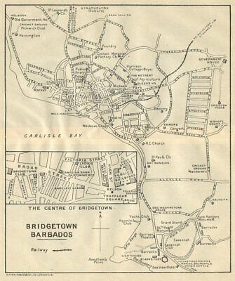 BRIDGETOWN. Vintage town map. Barbados. West Indies. Caribbean 1931 old