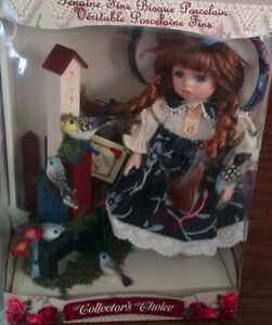 Hand Painted Porcelain Doll with Birds and Birdhouse